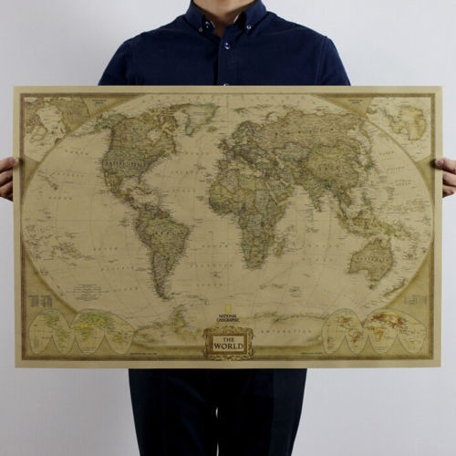 Picture of Large Vintage Style Retro Paper Poster Globe Old World Map Gifts 72x47cm
