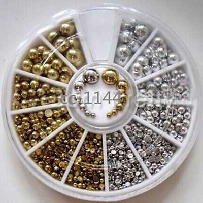 Picture of 1 Wheel 2colors Beads Shape Glitter Strass Rhinestones Jewelry 3d Nail Art Decoration Charms Studs Arrive Nail Accessories Tools