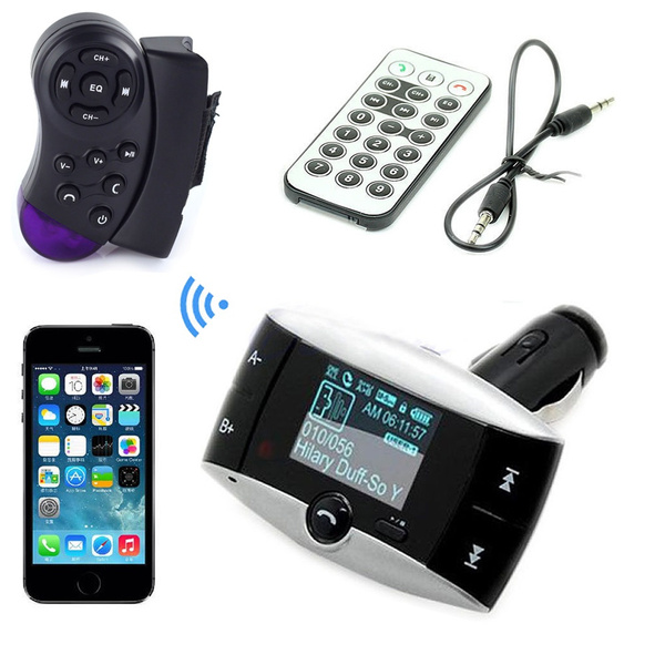 Picture of 3.5mm Audio Car Kit Steering Wheel Control+mp3 Music Player Wireless Lcd Fm Transmitter Radio Modulator With Usb Sd Mmc+ Remote Control Support Handsfree Color Black