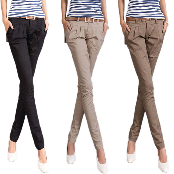 latest style of 2019 new style sells Black/Brown/Khaki Casual Skinny Jeans Narrow Denim Pant Womens Straight Leg  Trousers Ladies Cargo Pants Size 6 4 2 0