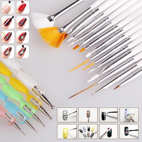 Picture of 20pcs Nail Art Design Set Dotting Painting Drawing Polish Brush Pen Tools Hot Sale Size One Size Color White