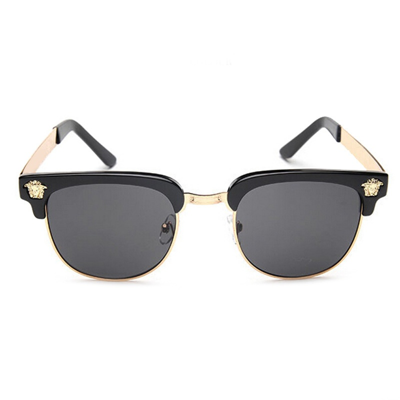 Picture of New Men's Fashion Half Frame Sunglasses Women's Color Film Retro Sunglasses Box Frame Vintage Sun Glasses