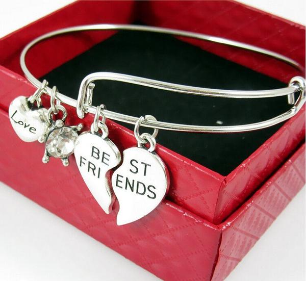 Best Friends Alex & Ani Alloy Friends Hand Jewelry Pendant Bracelet (Color: Silver)