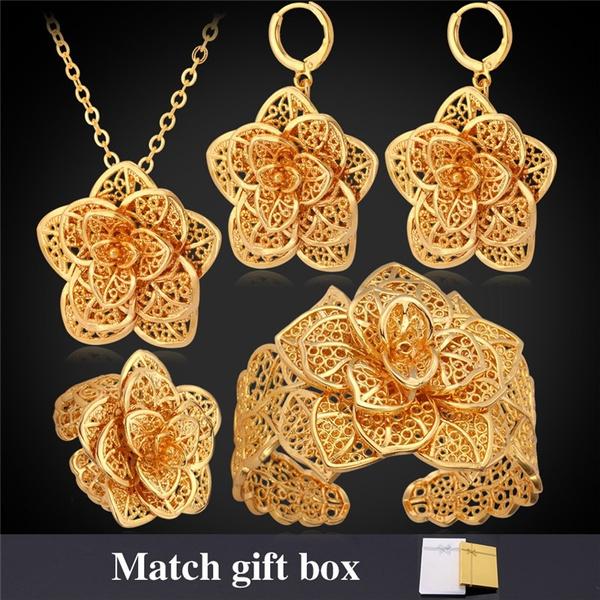 Necklace, 18kgoldplatedjewelryset, Flowers, Floral