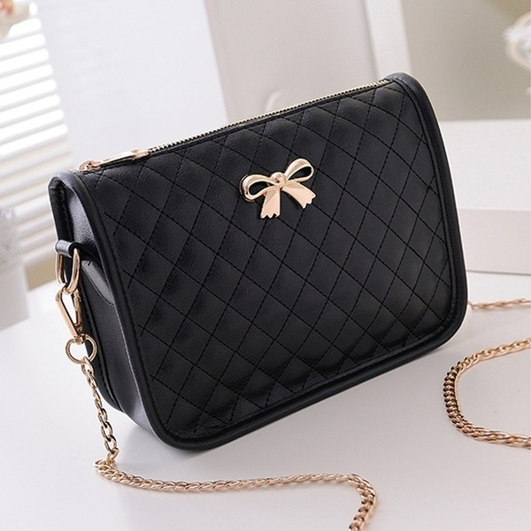 8d0360fa7b62 New Fashion Women Synthetic Leather Casual Bow Shoulder Bag Cross Bag  Handbag