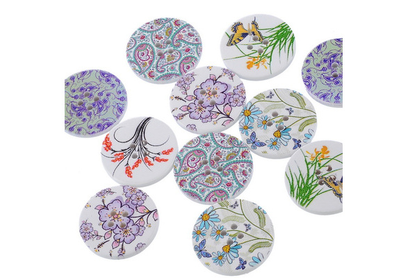 Fashion Painting Sewing Buttons Mixed Pattern 4 Holes Round Wood DIY