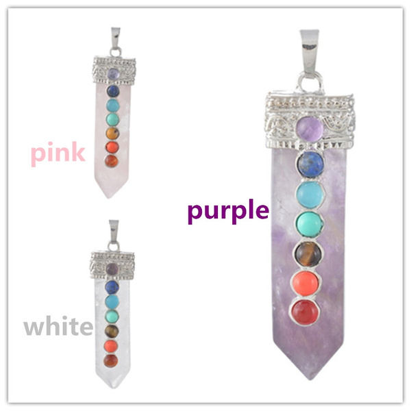 Wish rock crystal charm flat healing point sword pendants with wish rock crystal charm flat healing point sword pendants with seven small chakra gemstones pendulum necklace jewelry for gifts aloadofball Images