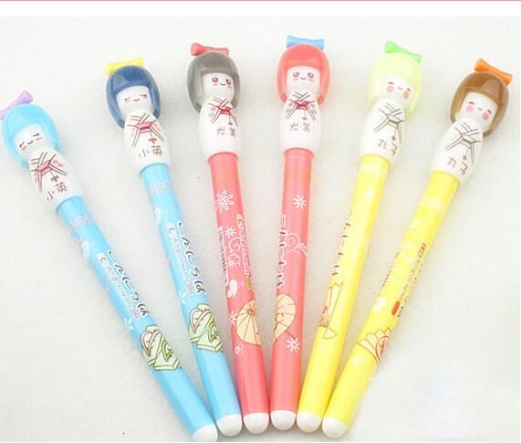 wish 3 pcs cute japanese geisha girl gel ink pen kawaii office