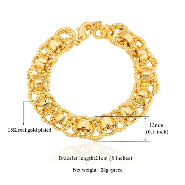 Geek Gold Bracelet With 18k Stamp Trendy Platinum Real Plated 21 Cm Unique Round Chain Link Bracelets Men Jewelry H489
