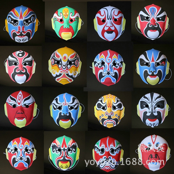 Characters Flocking Peking Opera Masks Chinese Mask Changing Faces Special Props Face Mask Type Of Peking Opera Mask Face Special Props Flocking Peking Opera Masks Wish