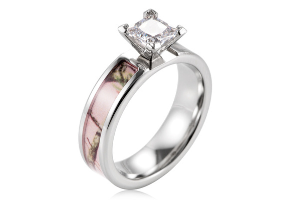 Pink Real Tree Camo Titanium Engagement Wedding Ring with 1 Ct AAA Cubic Zirconia Setting Ring