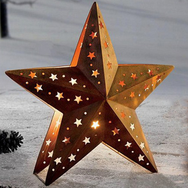 Rustic Metal Star Shaped Candle Holder