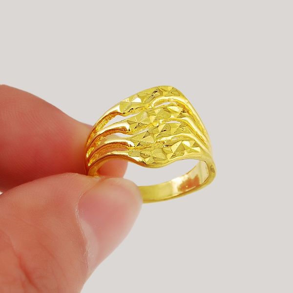 Wish Trendy Jewelry 24k Gold Filled Rings Finger Ring Water Wave