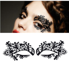 Fashion hollow stickers Peacock eye shadow makeup (Color: Black)