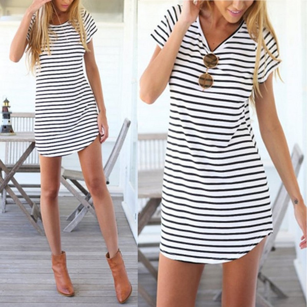 Sexy Women Casual Striped T-shirt Long Tops Blouse Kaftan Beach Shirt Mini Dress