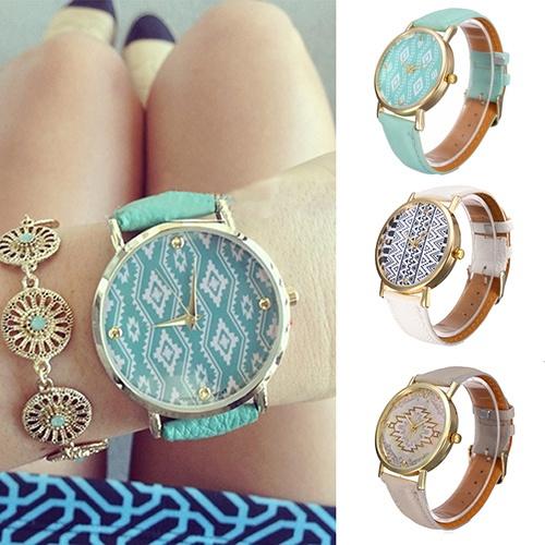Picture of Women's Vintage Leather Strap Geometric Wave Pattern Dial Quartz Casual Wrist Watch