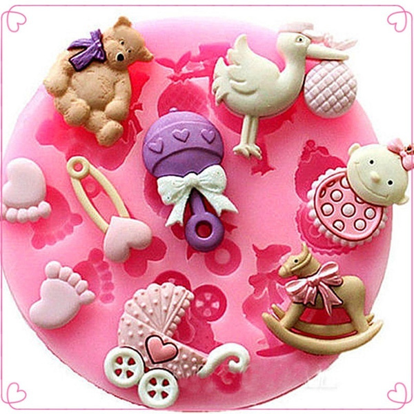 Picture of Silicone Baby Shower Fondant Cake Chocolate Baking Mold Mould Decorating