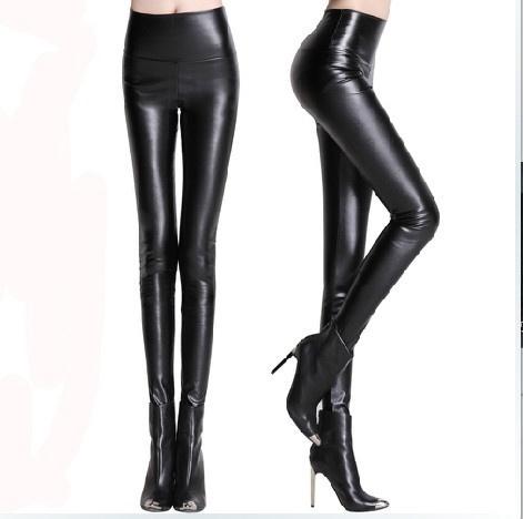 d43be644df7780 Fashion Sexy Women Shiny Metallic High Waist Pants Black Stretchy ...