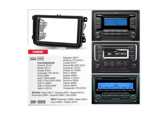 2 DIN Car Radio Stereo Fascia Surround Trim Kit CAR AV 08-009 For VW Caddy 2004+