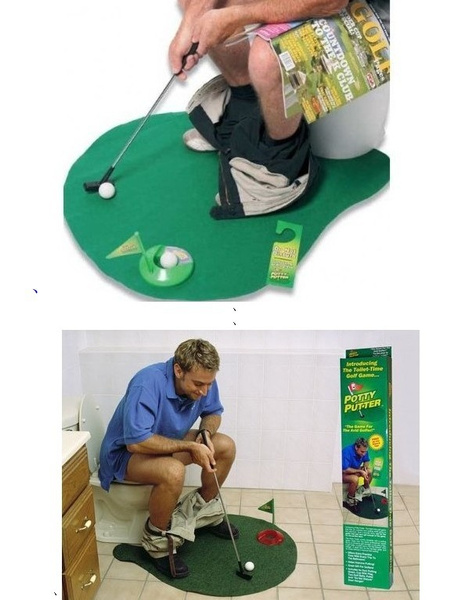 Wish | Mat Practice Potty Putter Bathroom Toy Novelty Toilet Time Game Golf  Putt Set For Golf Lover Gift Fanny Toys