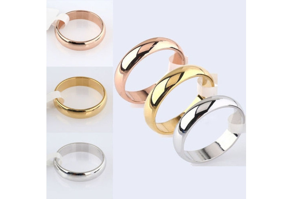 Men's Women's 4.5mm Width Band Titanium Steel Ring Plain Wedding Party Engagement Rings