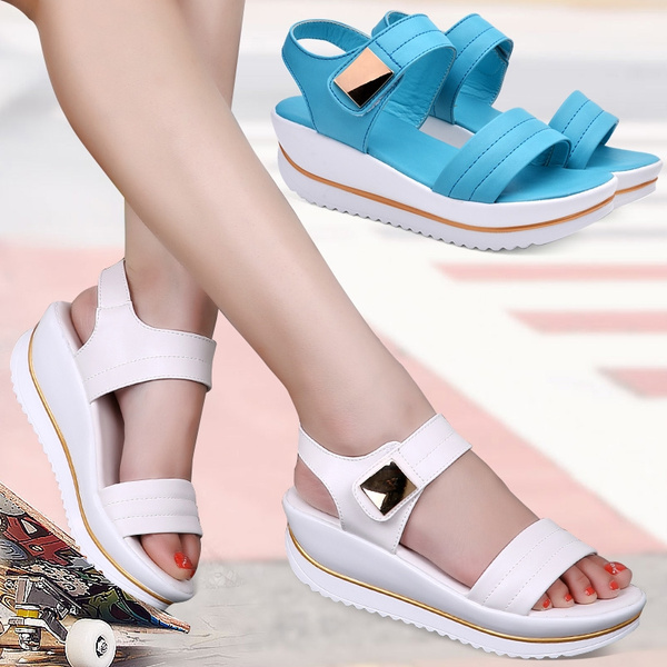Picture of Cow Split Leather Sewing Fashion Heel High 5.5cm Sandal Pumps Shoes