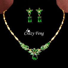 yellow gold, rhinestonejewelryset, Jewelry Set, Crystal Jewelry