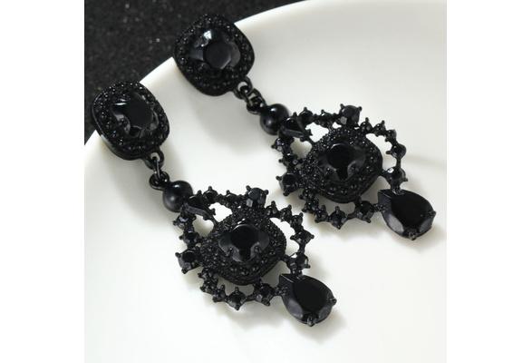 Elegant clear Crystal long wedding dangle woman pearl Earrings/black