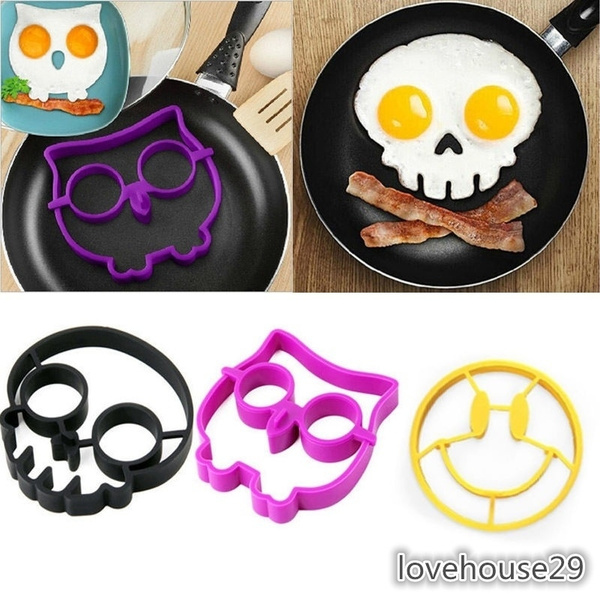 Picture of Silicone Smile Skull Owl Egg Fried Mould Molds Shaper Poucher Pancake Rings Cool