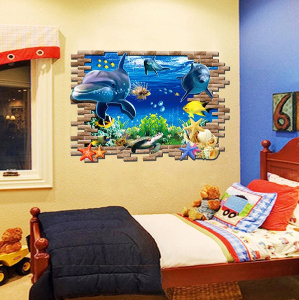 Wish | 3D Blue Ocean Wall Kid Baby Bedroom DIY Mural Wall Sticker ...