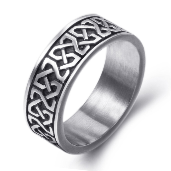 faa1c95cce05b 8mm Men's Boy's Stainless Steel Ring Band Celtic Knot Silver Black Biker  jewelry Size 8-15