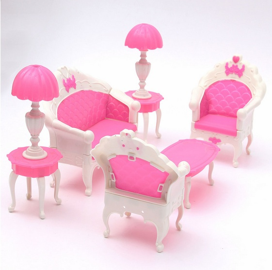 6pcs Cute Dollhouse for Barbie Doll Furniture Playset Living Room Parlour  Sofa