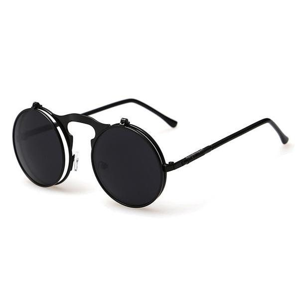 Round Glasses Vintage Gothic Retro Flip-up /'Steampunk/' Sunglasses