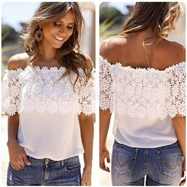 Picture of Sexy Women Off Shoulder Casual Tops Blouse Lace Crochet Chiffon Shirt