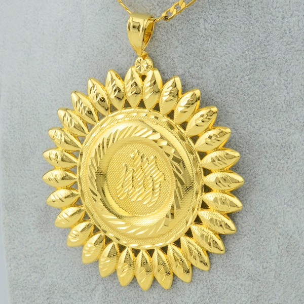 Wish big allah pendant necklace link chain 18k gold plated wish big allah pendant necklace link chain 18k gold plated islamic large jewelry women menarabic muslim new jewelry middle east aloadofball Gallery