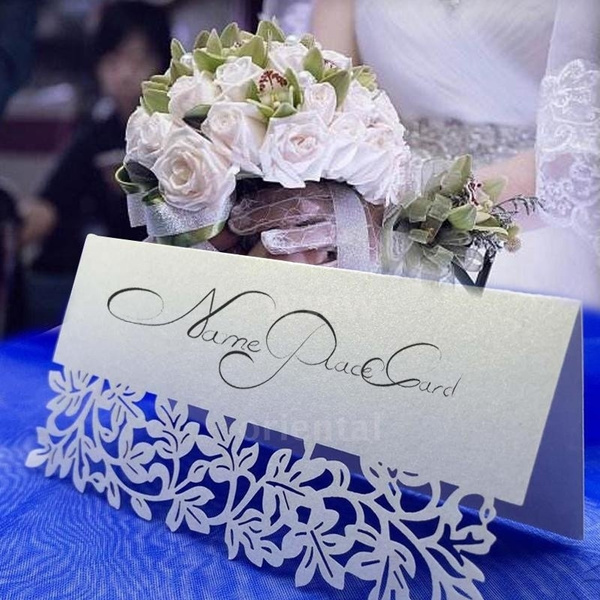 Picture of Lovely 10pcs Romantic White Carved Flower Vine Table Mark Name Place Card For Wedding Birthday Banquet Decoration Party Supplies Size 10pcs Color White
