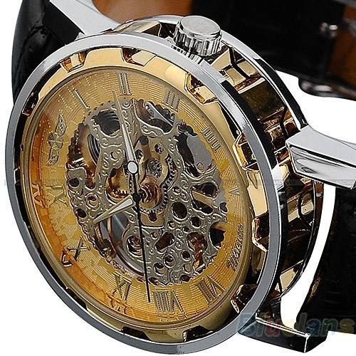 Picture of Classic Men's Black Leather Band Skeleton Mechanical Sports Army Wrist Watch Cool Pls Wind Watch When Received