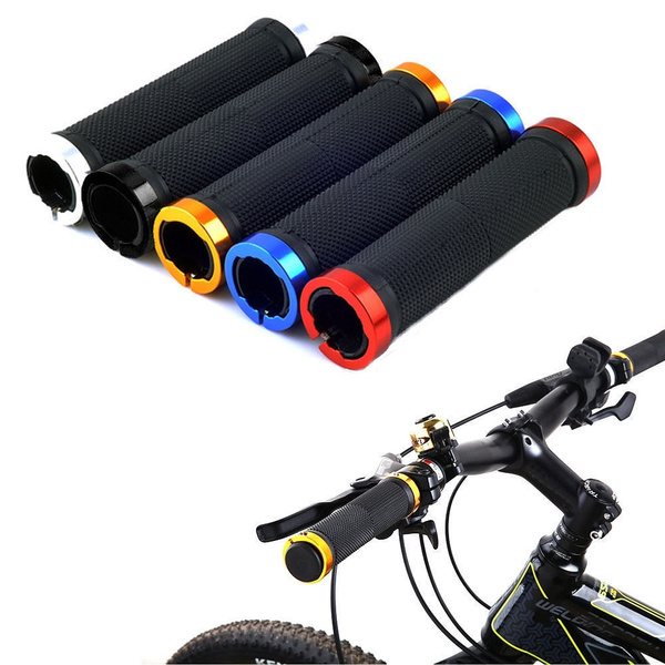 1 Pair Cycling Mountain Bike MTB BMX Bicycle Double Lock On Handlebar Grips Ends