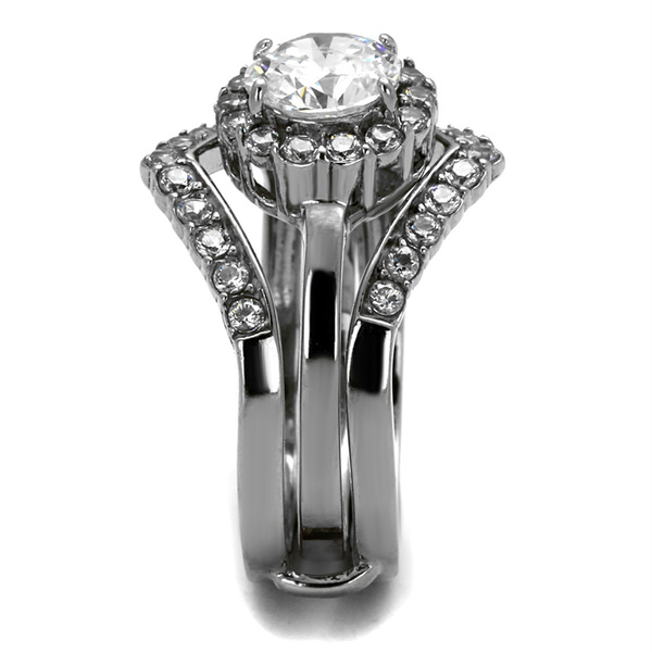 2.25 Ct Round Cut Stainless Steel AAA CZ Wedding Ring Band Set Women/'s Sz 5-10