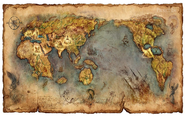 Wish Ancient Civilization Vintage World Map Treasure Map Poster - Retro world map poster