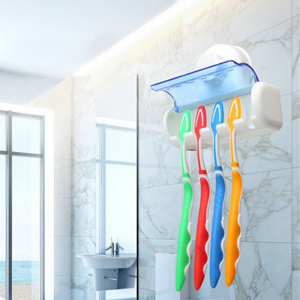Picture of Easy Toothbrush Suction Cups Holder Stand 5 Racks Home Bathroom Wall Mount Size One Size