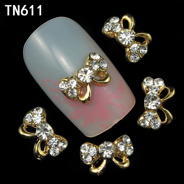 Wish   TOP Nail 10pcs Gold Butterfly Shape Glitter Strass ...
