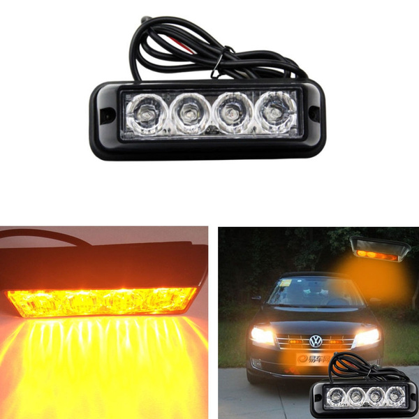 Wish 4 led car truck emergency beacon light bar hazard strobe wish 4 led car truck emergency beacon light bar hazard strobe warning yellow amber aloadofball Choice Image