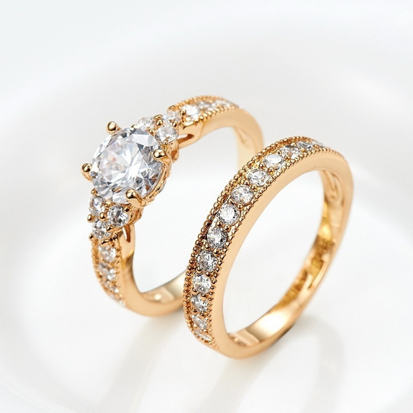 Wish Dawngems 18k Gold Plated Cubic Zirconia Wedding Rings Set Engagement Ring Bridal Bands