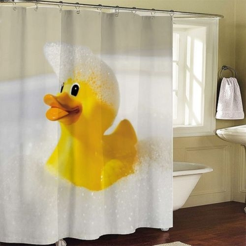 Wish | Yellow Rubber Duck Bathroom Fabric Shower Curtain Free 12 ...