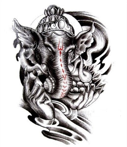 Wish Indian Elephant Of God Ganesha Large Temporary Tattoos Back