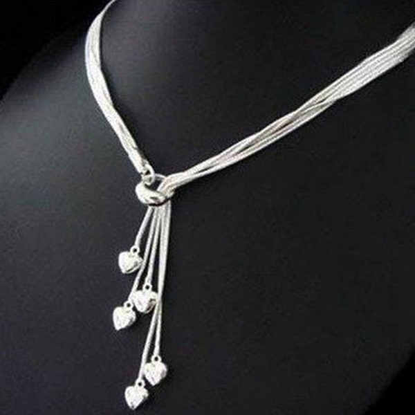 heartnecklacesilver, Jewelry, Silver hearts, women925sterlingsilverheartnecklace