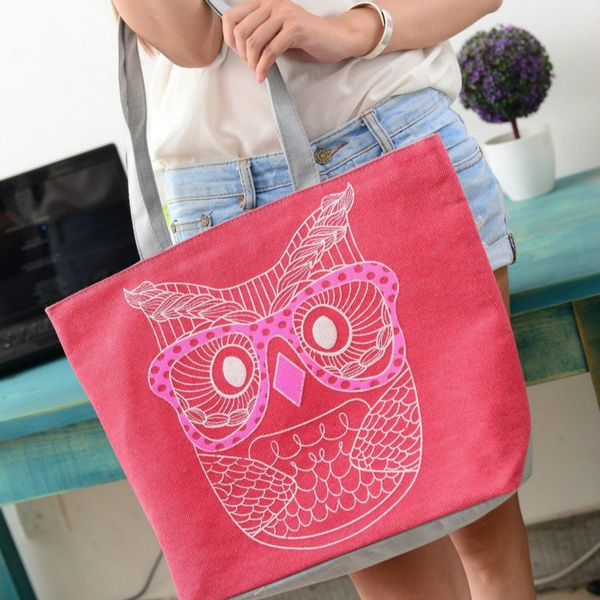 Picture of Women Big Bag Summer Casual Canvas Beach Bag With Cartoon Owl Pattern Large Capacity Shoulder Bagwith Gift