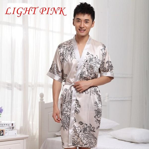 Wish | Mens Silk Kimono Bathrobe Men Albornoz Hombre Mens Short ...