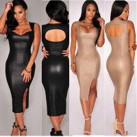2015 Women Fashion Sexy side slit Black Heart Neck Sleeveless Backless Bodycon Dress For Cocktail/Party/Evening/club